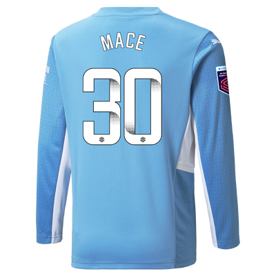 Kids Manchester City Home Shirt Long Sleeve 21/22 with Ruby Mace printing