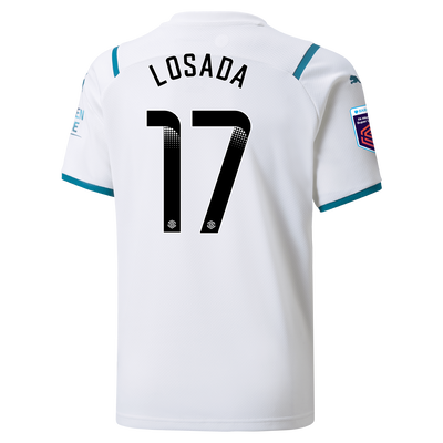 Kids Manchester City Away Shirt 21/22 with Vicky Losada printing