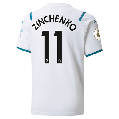 Kids Manchester City Away Shirt 21/22 with Oleksandr Zinchenko printing