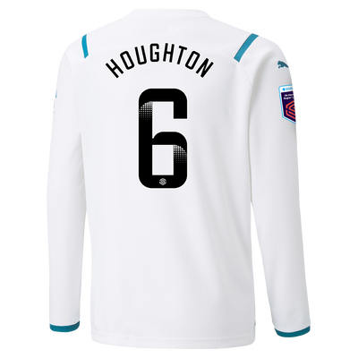 Kids Manchester City Away Shirt Long Sleeve 21/22 with Steph Houghton printing
