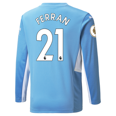 Manchester City Home Longsleeve Shirt 21/22 with Ferran Torres printing