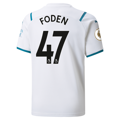 Kids Manchester City Away Shirt 21/22 with Phil Foden printing