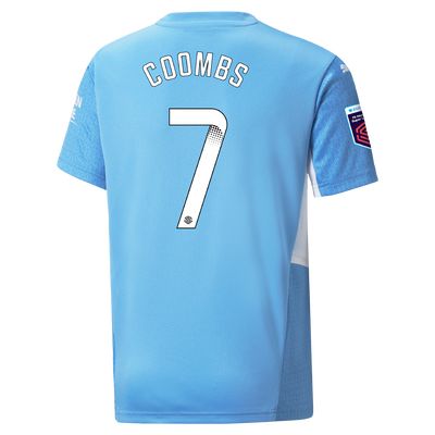 Kids Manchester City Home Shirt 21/22 with Laura Coombs printing