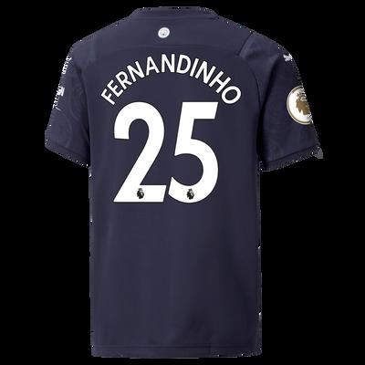 Kids Manchester City 3rd Shirt 21/22 with Fernandinho printing