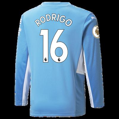 Manchester City Home Longsleeve Shirt 21/22 with Rodrigo printing
