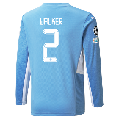 Kids Manchester City Home Longsleeve Shirt 21/22 with Kyle Walker printing