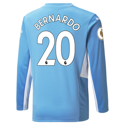 Kids Manchester City Home Longsleeve Shirt 21/22 with Bernardo Silva printing