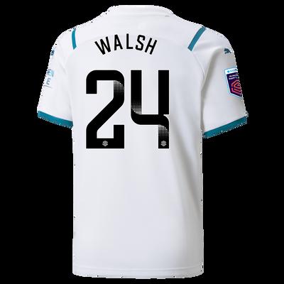 Kids Manchester City Away Shirt 21/22 with Keira Walsh printing