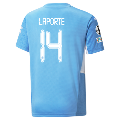 Kids Manchester City Home Shirt 21/22 with Aymeric Laporte printing