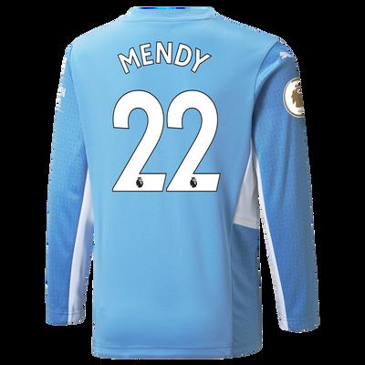 Kids Manchester City Home Longsleeve Shirt 21/22 with Benjamin Mendy printing