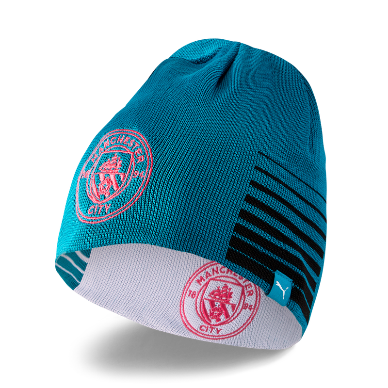 MCFC LW REVERSIBLE BEANIE - turquoise