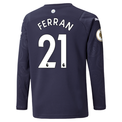 Kids Manchester City 3rd Shirt Long Sleeve 21/22 with Ferran Torres printing
