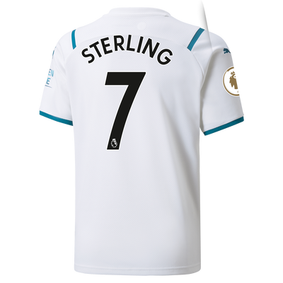 Kids Manchester City Away Shirt 21/22 with Raheem Sterling printing