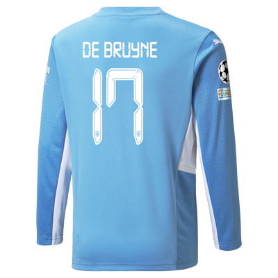 Kids Manchester City Home Longsleeve Shirt 21/22 with Kevin de Bruyne printing