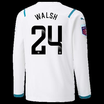 Kids Manchester City Away Shirt Long Sleeve 21/22 with Keira Walsh printing