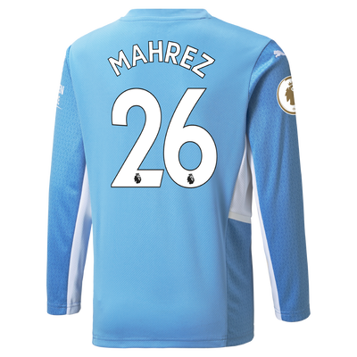 Manchester City Home Longsleeve Shirt 21/22 with Riyad Mahrez printing
