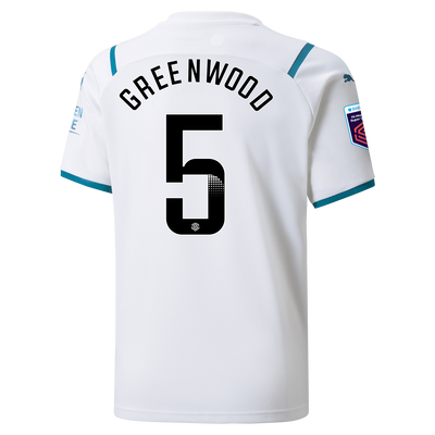 Kids Manchester City Away Shirt 21/22 with Alex Greenwood printing