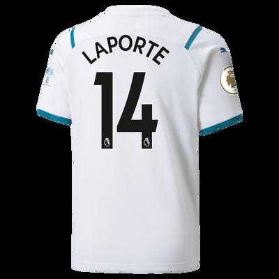 Kids Manchester City Away Shirt 21/22 with Aymeric Laporte printing