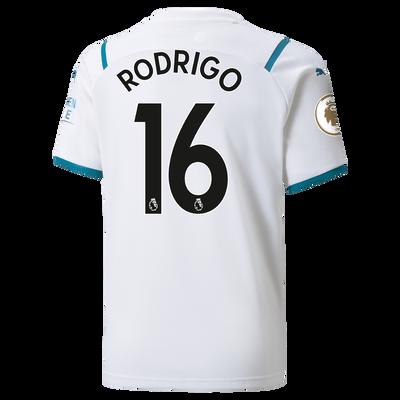 Kids Manchester City Away Shirt 21/22 with Rodrigo printing