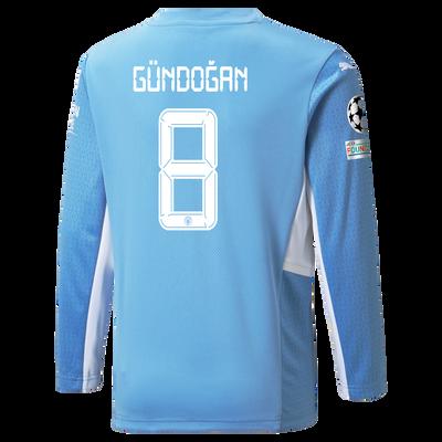 Kids Manchester City Home Longsleeve Shirt 21/22 with İlkay Gündoğan printing