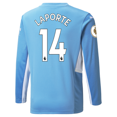 Manchester City Home Longsleeve Shirt 21/22 with Aymeric Laporte printing