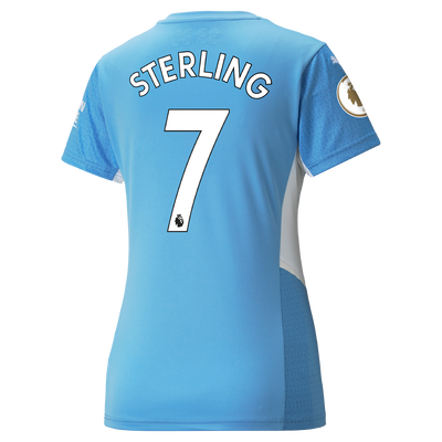 Womens Manchester City Home Shirt 21/22 with Raheem Sterling printing
