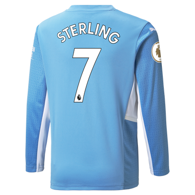 Kids Manchester City Home Longsleeve Shirt 21/22 with Raheem Sterling printing