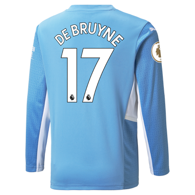 Manchester City Home Longsleeve Shirt 21/22 with Kevin de Bruyne printing