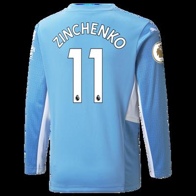 Kids Manchester City Home Longsleeve Shirt 21/22 with Oleksandr Zinchenko printing
