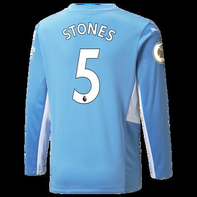 Kids Manchester City Home Longsleeve Shirt 21/22 with John Stones printing