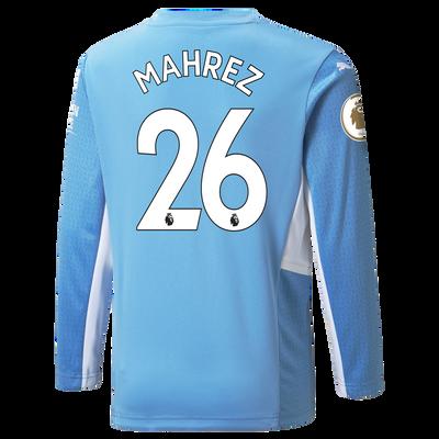 Kids Manchester City Home Longsleeve Shirt 21/22 with Riyad Mahrez printing