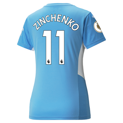 Womens Manchester City Home Shirt 21/22 with Oleksandr Zinchenko printing