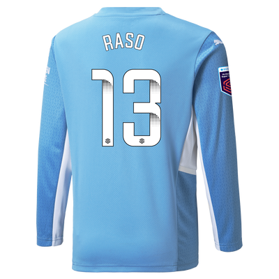 [Pre-order] Kids Manchester City Home Shirt Long Sleeve 21/22 with Hayley Raso printing