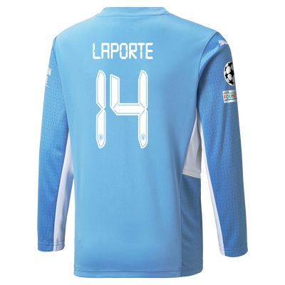 Kids Manchester City Home Longsleeve Shirt 21/22 with Aymeric Laporte printing