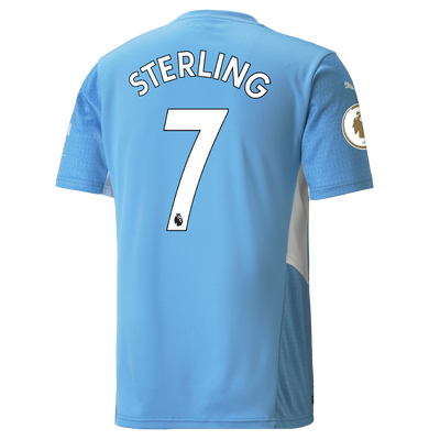 Kids Manchester City Home Shirt 21/22 with Raheem Sterling printing