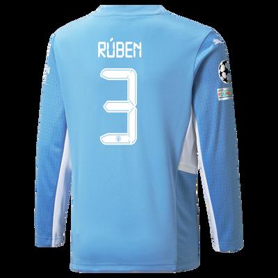 Kids Manchester City Home Longsleeve Shirt 21/22 with Rúben Dias printing