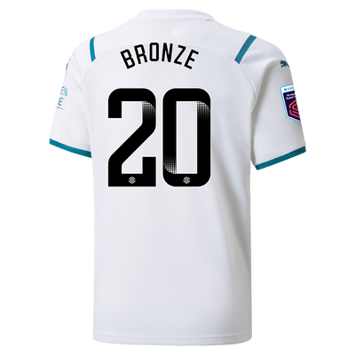 Kids Manchester City Away Shirt 21/22 with Lucy Bronze printing