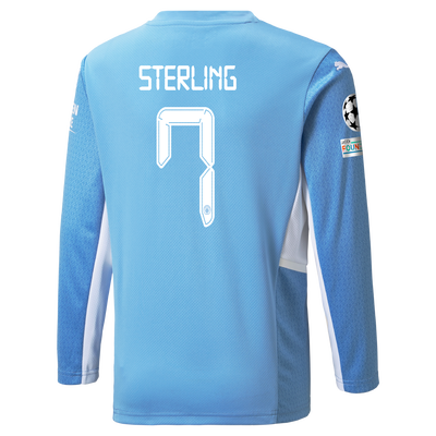 Manchester City Home Longsleeve Shirt 21/22 with Raheem Sterling printing