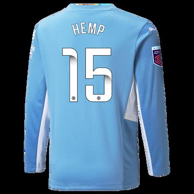 Kids Manchester City Home Shirt Long Sleeve 21/22 with Lauren Hemp printing