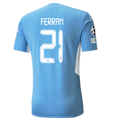 Manchester City Home Authentic Shirt 21/22 with Ferran Torres printing