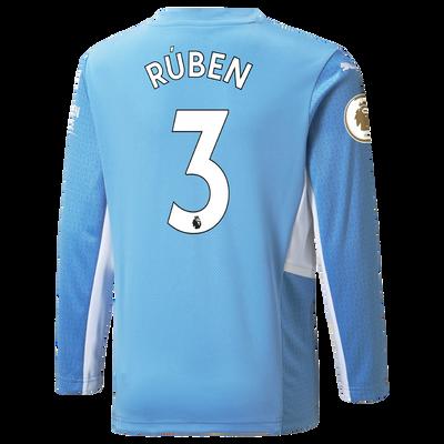 Manchester City Home Longsleeve Shirt 21/22 with Rúben Dias printing