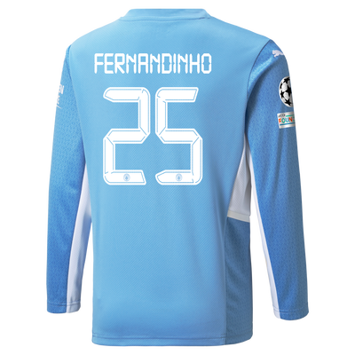 Kids Manchester City Home Longsleeve Shirt 21/22 with Fernandinho printing