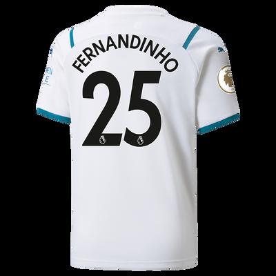 Kids Manchester City Away Shirt 21/22 with Fernandinho printing