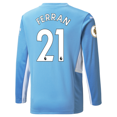 Kids Manchester City Home Longsleeve Shirt 21/22 with Ferran Torres printing