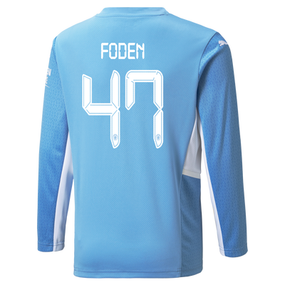 Manchester City Home Longsleeve Shirt 21/22 with Phil Foden printing