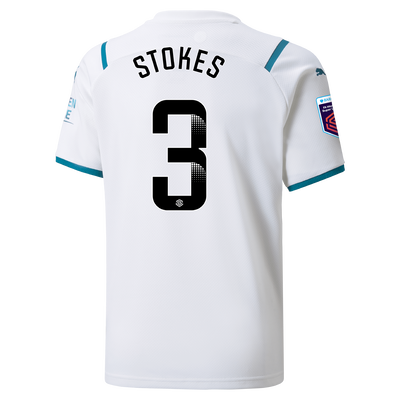 Kids Manchester City Away Shirt 21/22 with Demi Stokes printing