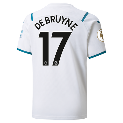 Kids Manchester City Away Shirt 21/22 with Kevin de Bruyne printing