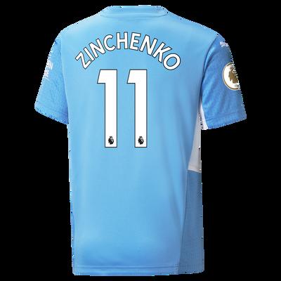 Kids Manchester City Home Shirt 21/22 with Oleksandr Zinchenko printing