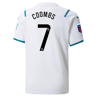 Kids Manchester City Away Shirt 21/22 with Laura Coombs printing