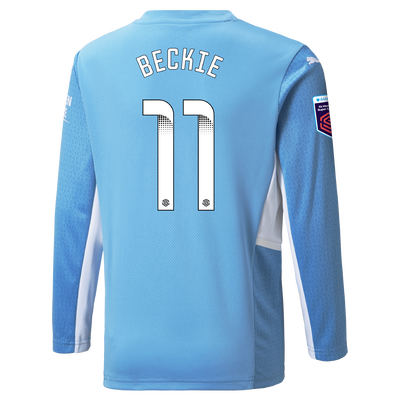 Kids Manchester City Home Shirt Long Sleeve 21/22 with Janine Beckie printing